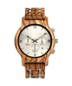 Black Magic Organic Tigerwood chronograph dress watch silver face2